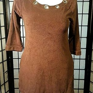 Michael Kors Brown Terry Cloth Cover Up Tunic Top